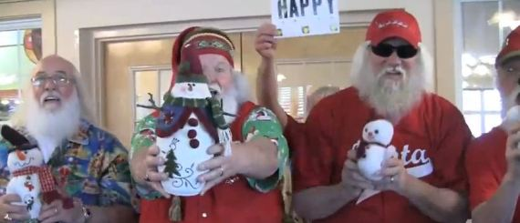 A group of Santas get together in the off season and here's what happens!